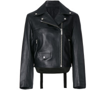strap detail biker jacket