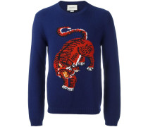 Intarsien-Pullover mit Tigermotiv - men - Wolle