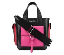 Handtasche mit kontrastfarbigen Taschen