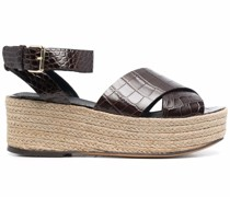 Diani Plateau-Sandalen mit Kroko-Effekt
