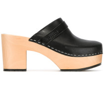 'Louise' Mules - women - Holz/Leder/wood/rubber