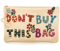 'Cleo' Clutch mit Slogan-Patches