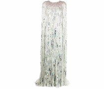 sequin-embellished cape gown