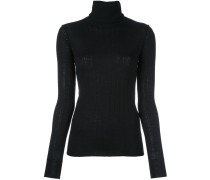 ribbed roll neck knitted blouse
