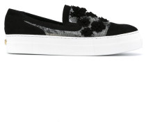 Slip-On-Sneakers mit Blumen-Applikationen