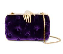 Purple Carmen Velvet Clutch Bag with Hand Embellishment