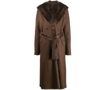 fur-trimmed trench coat