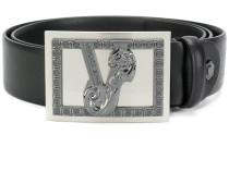 embellished V buckle belt