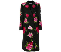 Floral Bouquet embroidered double breasted coat