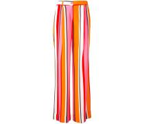 stripe flared trousers - women - Seide/Elastan