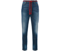 rope belt cropped jeans