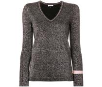 glitter effect V-neck sweater