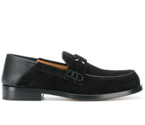 four-stitch folding-heel suede loafers