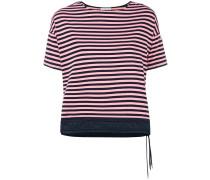drawstring hem striped T-shirt
