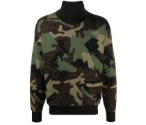 Intarsien-Pullover mit Camouflagemuster