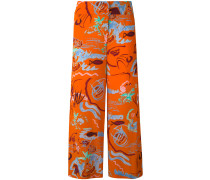 - embroidered cropped trousers - women - Seide