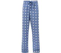 Pyjamahose mit Quadrat-Print