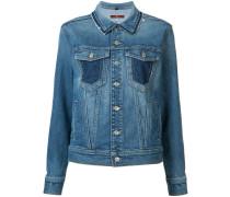 Jeansjacke mit ausgefranstem Kragen - women