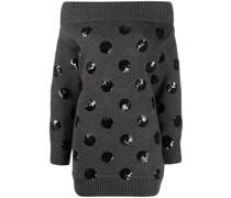 Schulterfreies Kleid mit Punkten