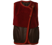 shearling panel gilet - women