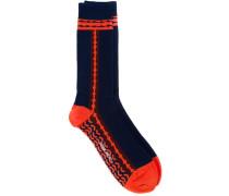 Intarsien-Socken mit Streifen