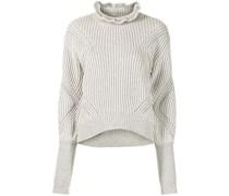 Gerippter Pullover mit Rüschenkragen