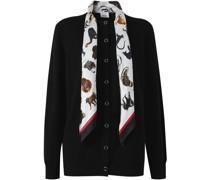 monkey print scarf detail cardigan