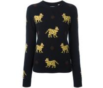 - Intarsien-Kaschmirpullover mit Leopardenmuster