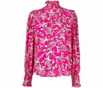floral-print high neck blouse