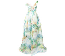 asymmetric neck gown