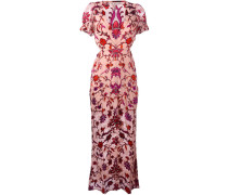 Langes Kleid mit Rosen-Print