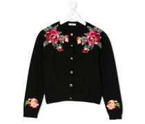Woll-Cardigan mit floraler Stickerei