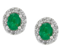 18kt gold, diamond and emerald stud earrings