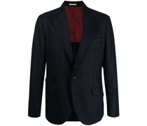square-pattern virgin wool-blend blazer