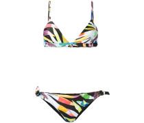 Bedruckter Bikini mit seitlichen Knoten