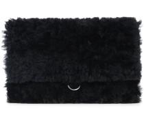 Shearling-Clutch mit Klappdeckel