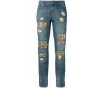 Distressed-Jeans mit Schmucksteinen