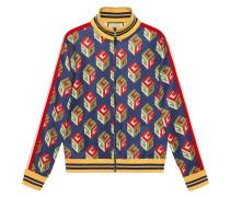 Jacke aus technischem Jersey mit GG Wallpaper-Print