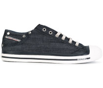 Jeans-Sneakers mit Ösen