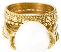 Set aus Goldringen mit einer Perle