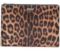 Clutch mit Leoparden-Print