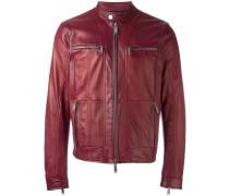 zipped panel leather jacket