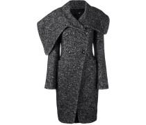 Mantel mit Fischgrätmuster und überbreitem Kragen