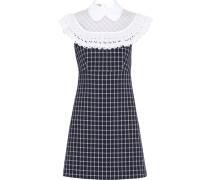 lace check print dress