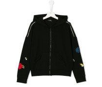 embroidered patch zipped hoodie