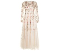 Lilliam floral-embroidered tulle gown