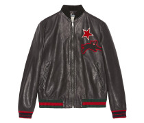 Leather bomber with embroideries - men - Leder