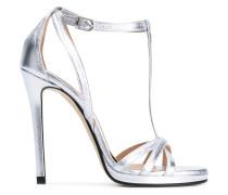 Metallic-Sandalen mit hohem Absatz