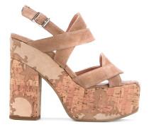 crossover strap platform sandals - women