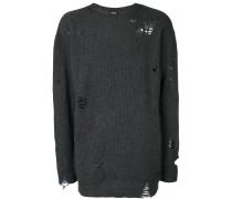 Langer Pullover mit Distressed-Optik